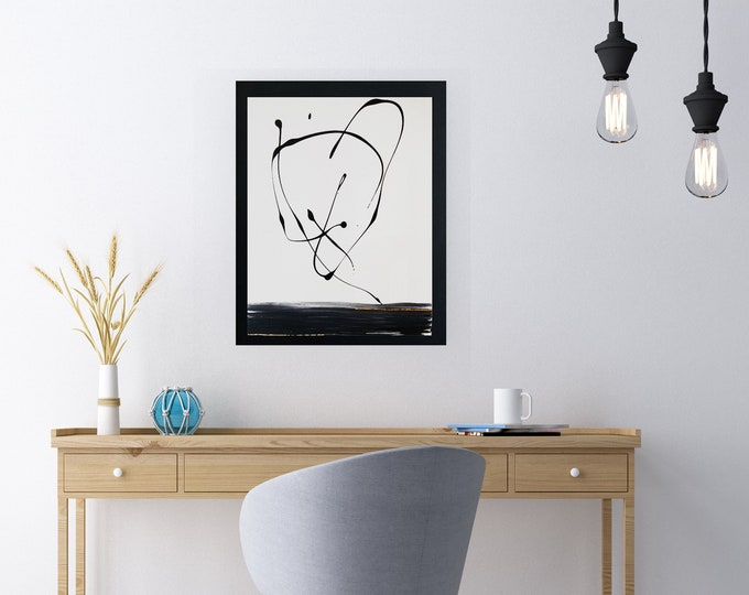 """Black and white art work by Margaret Lipsey. Minimal wall art for your home or office. """"Kite"""""""