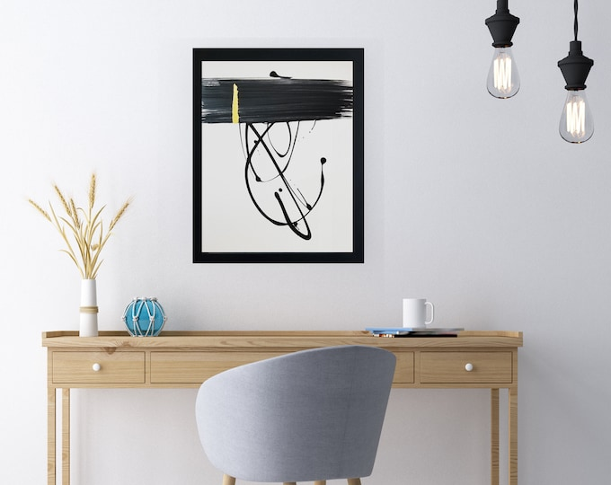 """Black and white art work by Margaret Lipsey. Minimal wall art for your home or office. """"The Dancer Within"""""""