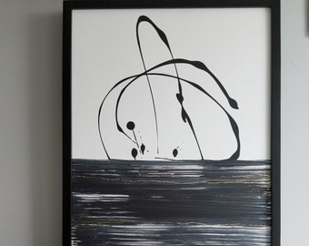 Original Acrylic abstract wall art by Margaret Lipsey. Expressive minimal artwork for your home or office. -  Confined