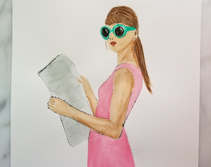 """Fashion inspired watercolor art by Margaret Lipsey. Beautiful Minimal wall art for your home or office. """"Light reading 5"""""""