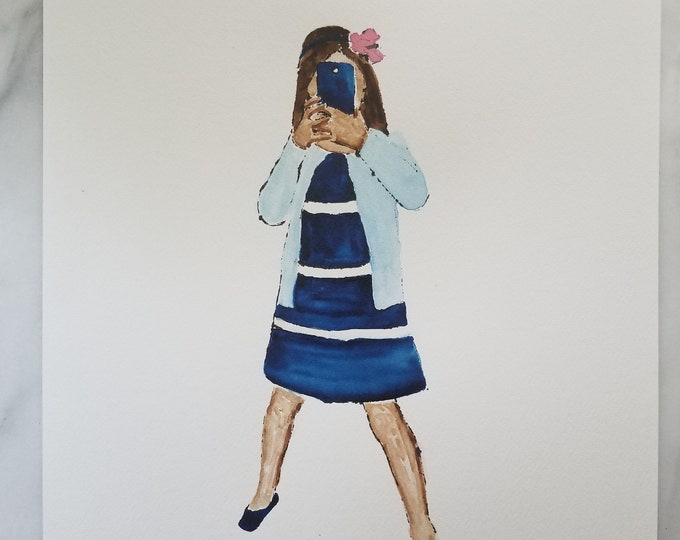 Fashion inspired watercolor art by Margaret Lipsey. Beautiful Minimal wall art for your home or office. Smile 1