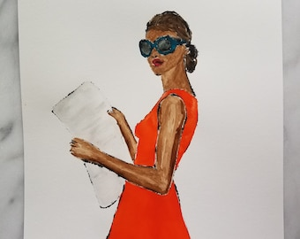 Fashion inspired watercolor art by Margaret Lipsey. Beautiful Minimal wall art for your home or office. Light reading 3
