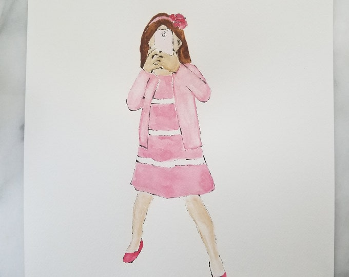 Fashion inspired watercolor art by Margaret Lipsey. Beautiful Minimal wall art for your home or office. Smile 2