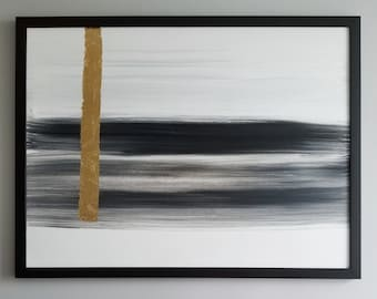Original Acrylic abstract wall art by Margaret Lipsey. Expressive minimal artwork for your home or office. -  Traces