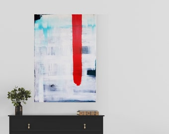 "Dramatic abstract art work by Margaret Lipsey. Minimal and high impact canvas wall art for your home. ""Loud Mind"""