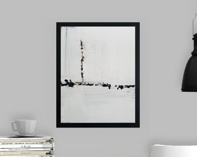 Black and white art work by Margaret Lipsey. Minimal wall art for your home or office. - Moving Forward