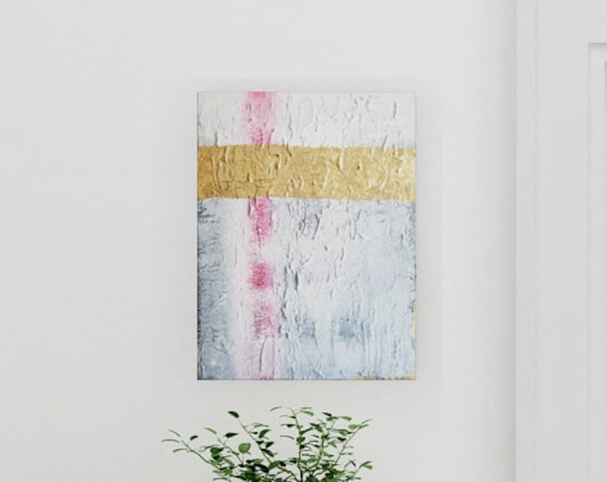 Original Acrylic abstract wall art by Margaret Lipsey. Expressive minimal artwork for your home or office. -  Cracks in the Pavement
