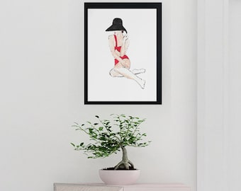 Fashion inspired watercolor art by Margaret Lipsey. Beautiful and minimal wall art for your home or office. Sunny Days 3