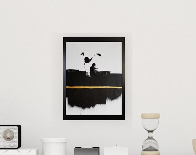Black and white art work by Margaret Lipsey. Minimal wall art for your home or office. - If You want to Fly