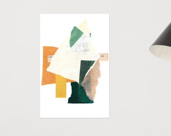 Green and Orange Collage Print