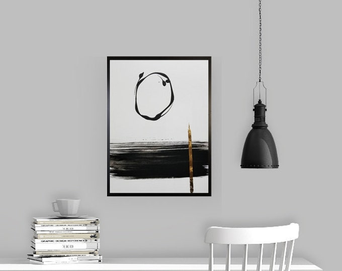 Black and white art work by Margaret Lipsey. Minimal wall art for your home or office. - Moon Over the City