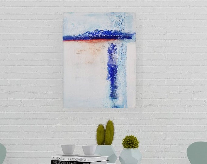 Original Acrylic abstract wall art by Margaret Lipsey. Expressive minimal artwork for your home or office. -  Mountainside Glow