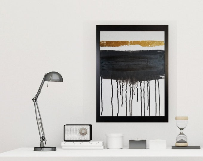 Black and white art work by Margaret Lipsey. Minimal wall art for your home or office. - The Unseen Cause of Her Tears