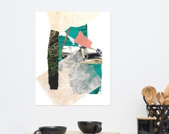 Turquoise and Green Collage Print