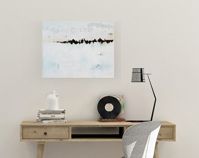 Original Acrylic abstract wall art by Margaret Lipsey. Expressive minimal artwork for your home or office. -  Remembering That Long Ago Day