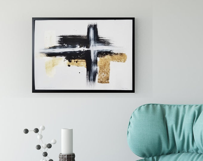 Acrylic abstract wall art by Margaret Lipsey. Expressive minimal artwork for your home or office. - The Sun and Moon Each have Their Time