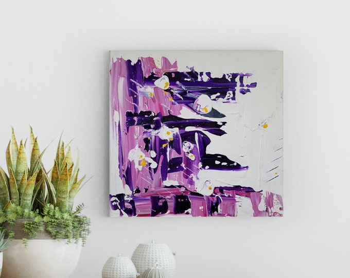 Featured listing image: Textured Acrylic abstract wall art by Margaret Lipsey. Colorful and expressive artwork for your home or office. - Jardin