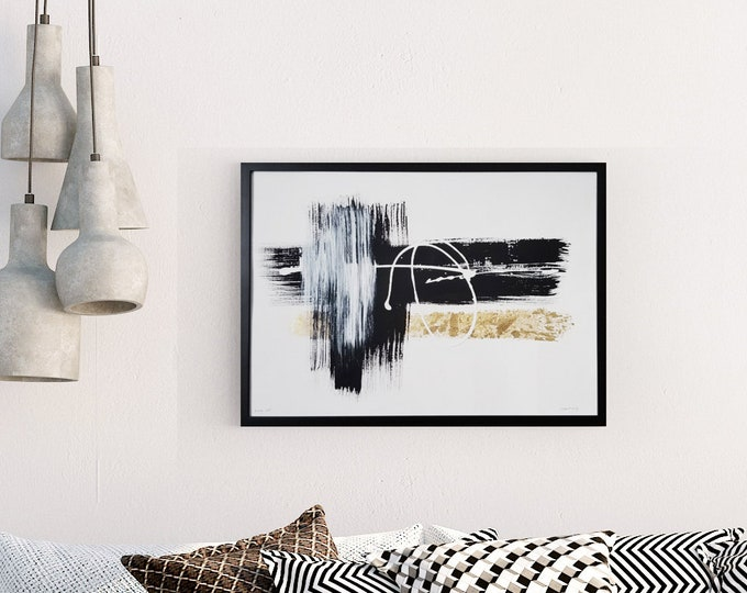 Original Acrylic abstract wall art by Margaret Lipsey. Expressive minimal artwork for your home or office. -  Velocity