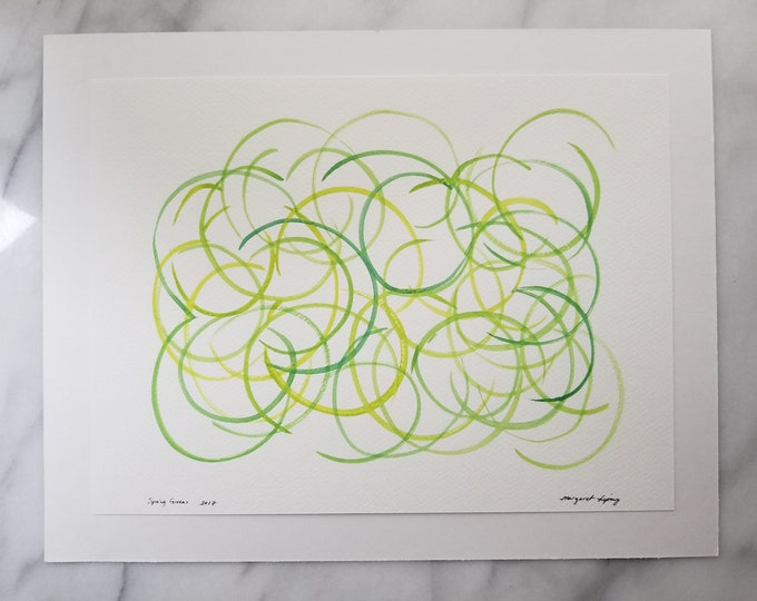 Original watercolor wall art by Margaret Lipsey. Expressive minimal artwork for your home or office. Spring Greens
