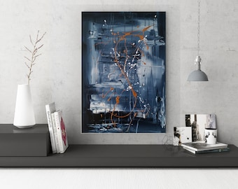 Textured Acrylic abstract wall art by Margaret Lipsey. Colorful and expressive artwork for your home or office. - Midnight Deluge
