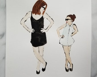 Fashion inspired watercolor art by Margaret Lipsey. Beautiful Minimal wall art for your home or office. When I Grow Up