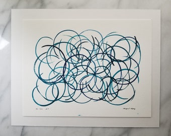 Original watercolor wall art by Margaret Lipsey. Expressive minimal artwork for your home or office. Blue Green