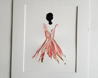 Woman in Rose Gold No. 1 Women of Strength series - on paper