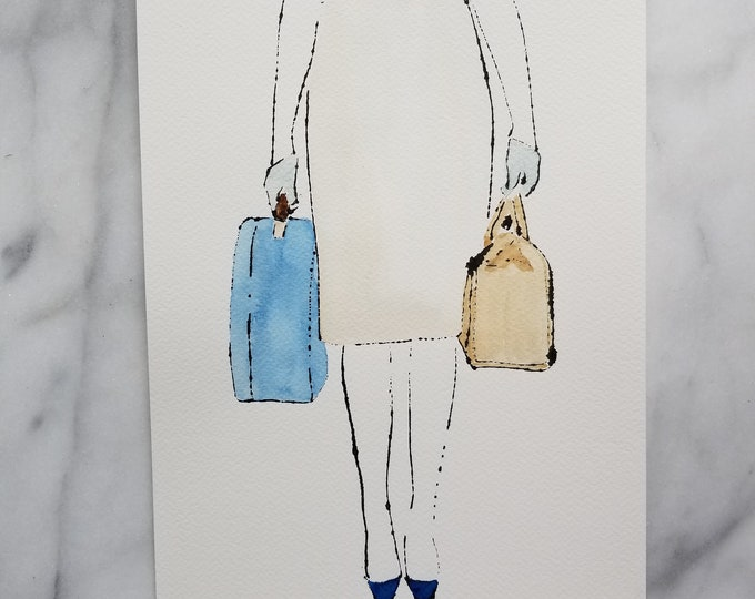 Fashion inspired watercolor art by Margaret Lipsey. Beautiful Minimal wall art for your home or office. Travelling light number 2