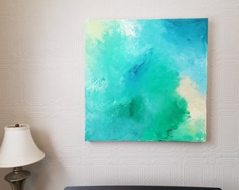 Summer Glow - Acrylic abstract wall art by Margaret Lipsey. Colorful and expressive artwork for your home or office.