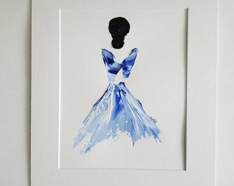 Woman in Blue No. 4 Women of Strength series - on paper