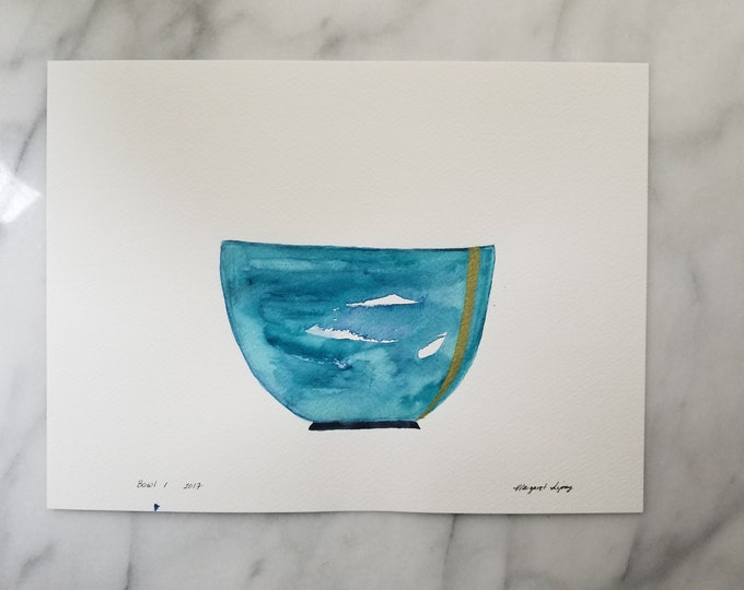 Original watercolor wall art by Margaret Lipsey. Expressive minimal artwork for your home or office. Bowl 1