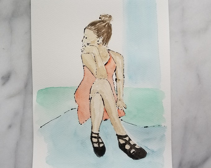 Fashion inspired watercolor art by Margaret Lipsey. Beautiful Minimal wall art for your home or office. Madeleine number 1