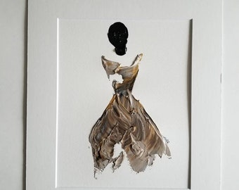 Woman in Chocolate and Gold No. 2 Women of Strength series - on paper