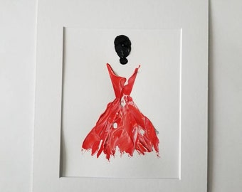 Woman in Coral No. 2 Women of Strength series - on paper