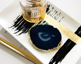 Hand painted decorative trays by Margaret Lipsey. Black Stripe, medium decorative plate