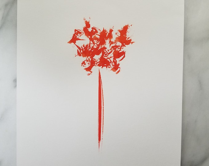 Original watercolor wall art by Margaret Lipsey. Expressive minimal artwork for your home or office. Orange No. 2