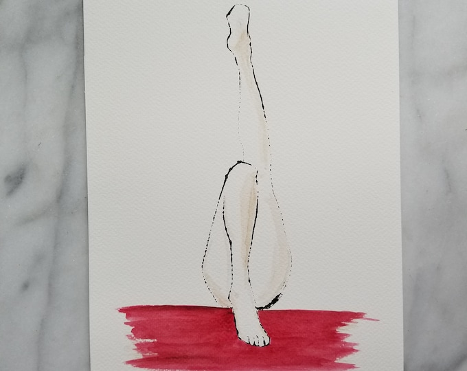 Original watercolor art by Margaret Lipsey. Beautiful Minimal wall art for your home or office. Legs number 1