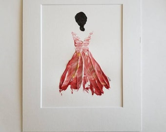 Woman in Red No. 7 Women of Strength series - on paper