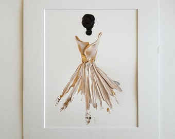 Woman in Gold No. 1 Women of Strength series - on paper
