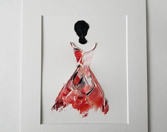 Woman in Red No. 5 Women of Strength series - on paper