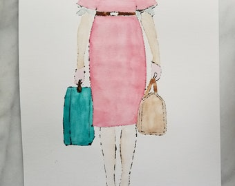 Fashion inspired watercolor art by Margaret Lipsey. Beautiful and minimal wall art for your home or office. Travelling Light No. 6