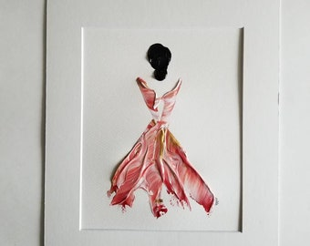 Woman in Red No. 10 Women of Strength series - on paper