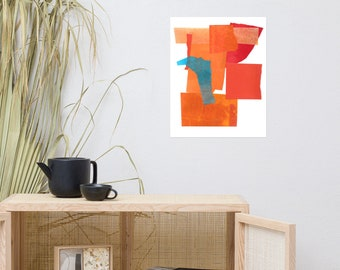 Orange and Blue Collage Print