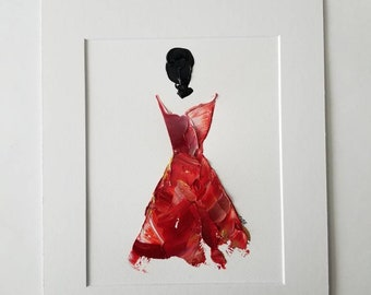 Woman in Red No. 3 Women of Strength series - on paper