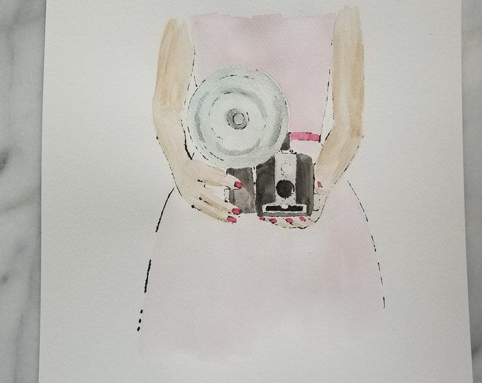Fashion inspired watercolor art by Margaret Lipsey. Beautiful Minimal wall art for your home or office. Vintage Vibes 1