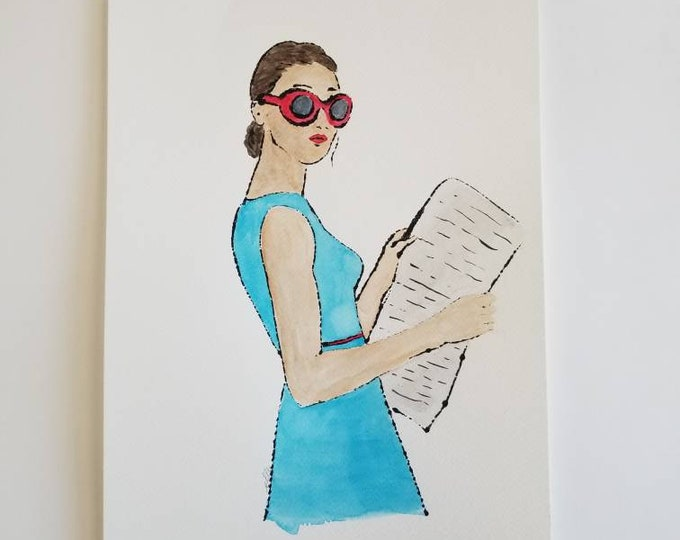 Light Reading 6 - Fashion inspired watercolor art by Margaret Lipsey. Beautiful Minimal wall art for your home or office.