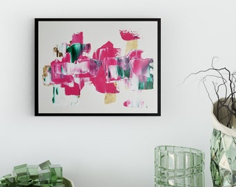 Original Acrylic abstract wall art by Margaret Lipsey. Expressive minimal artwork for your home or office. -  Pink No. 2