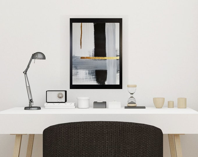 Black and white art work by Margaret Lipsey. Minimal wall art for your home or office. - Square No 3