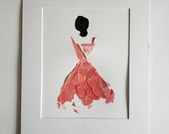 Woman in Coral No. 4 Women of Strength series - on paper