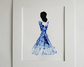 Woman in Blue No. 6 Women of Strength series - on paper